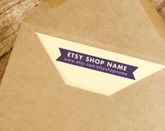 Personalized Etsy Shop Stamp • Website Rubber Stamp • Custom Logo Address Stamp • Modern Wooden Handle • Etsy Name Stamp • Business Website