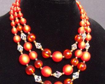 Beautiful Vintage Three Strand Orange Moonglow Lucite & AB Crystal Bead Choker