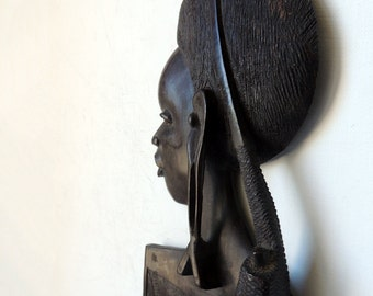 Hand Carved Wood Art Large African Hair Comb Pick