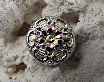 22mm Mandala Vitrail Button Czech Glass BC-29,glass mandala button,green vitrail button,sewing button,czech glass button,mandala button
