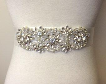 Rhinestone Sash-Off White Sash-Diamond White Sash-Bridal Sash-Crystal Sash-Bride Sash-Rhinestone Belt-Floral Crystal Pearl Applique Sash