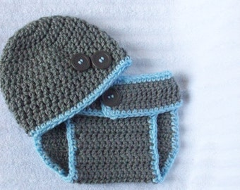 Grey Blue Diaper Cover Set, Newborn Photography Prop, Button Accents, Handmade Crochet Yarn, Baby Boy, New Baby, Cute Photo Prop, Gray