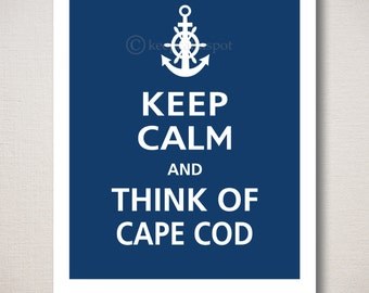 Customizable THINK Of CAPE COD Print - Typography Art 8x10 (Featured color: Regatta--choose your own colors)