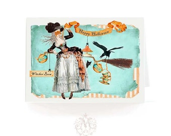 Halloween card, witch on broomstick, Marie Antoinette, Happy Halloween witch card, blank inside