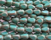 12x8mm 3 Cut Opaque Green Turquoise Picasso Table Cut Czech Glass Teardrop Beads - Qty 20 (BS333)
