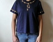 Vintage Nautical Blouse - Navy Blue Shirt with Gold Stars - Size Medium