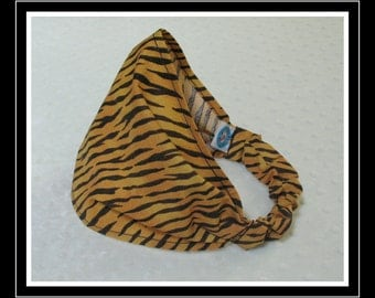 BANDANA-Tiger Stripes- Fabric Covered Elastic Back-one size fits girls, teens, adults / Ready To Ship