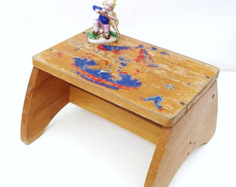 Vintage Childs Wooden Chair / Wood Bench / Bathroom Step Stool / Rustic Kids Chair - Red Blue Carousel - As Is