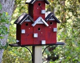 Birdhouse, Condo Bird House Post Mount Custom Built Large Birdhouses Functional For Garden Birds, SPECIAL ORDER