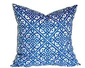 Waverly Ice Blue Decorative Pillow Cover 18x18, 20x20, 22x22, or 14x20 Lumbar Pillow Lattice Throw Pillow Accent Pillow Pillow Sham
