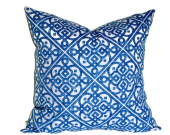 Waverly Ice Blue Decorative Pillow Cover 18x18, 20x20, 22x22, or 14x20 Lumbar Pillow Lattice Throw Pillow Accent Pillow Pillow Sham