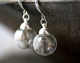 PURE&SIMPLE Real dandelion seeds earrings - dried dandelion seeds in glass orbs on matte silver colored hooks. Nature jewelry for her.