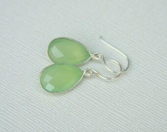 Bezel Earrings,Light Green Chalcedony, Gemstone, Silver,Faceted,Green Apple