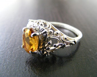 15% Off Sale.S114 New Sterling Silver Elaborate Filigree Ring with 2 carat Natural Orange/Yellow Tourmaline Gemstone