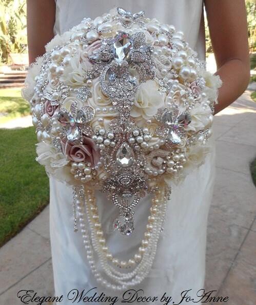 Diy Jeweled Bridal Bouquet Wedding Accessories Ideas