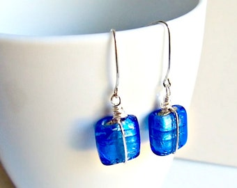 Blue Earrings, Boho Chic, Glass Earrings, Gifts for Women, Blue Silver Earrings, Square Earrings, Cobalt Blue, Everyday Earrings,