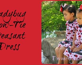 Ladybug Bow Tie Peasant Dress, sizes 2 through 7, READY TO SHIP