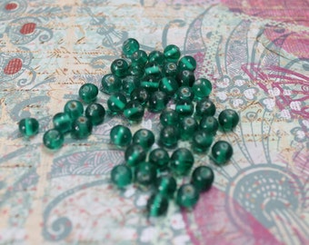 VintageTeal Natural Glass 6mm Bead (38 Pieces)