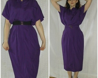 Vintage Purple Dress, '80s does '40s, Glamorous, Pin Up, Hearts label, medium