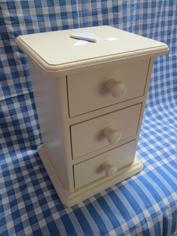 Hand-painted & decorated Small 3-Draw Chest in Cream. Custom orders also available. Woodwork production supports a charity - Free postage