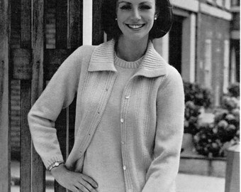 womens twin set knitting pattern vintage 1960s cardigan with collar sweater  34-44inch 4 ply womens knitting pattern pdf instant download