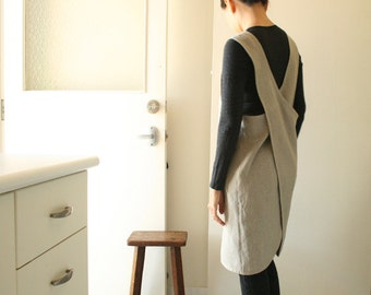 LINEN PINAFORE / womens linen clothing / linen dress / smock / tunic / cafe apron / organic / australia / handmade by pamelatang