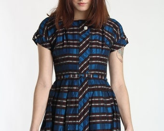 SALE- 1950s Plaid Dress . Blue Shimmer Frock