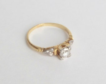 Art Deco Diamond Engagement Ring. 14k Gold & Palladium. Blossoms. 6.25 M.