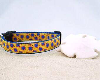 "Yellow with Blue Dots and Red Pink Accents Spring Summer Dog Collar, 1"" Wide"