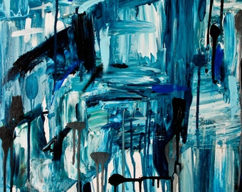 Abstract Art // Abstract Painting 'FAR AWAY', // Niki Parker Art // BLUES // Modern Art // Contemporary Art