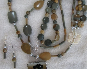 GOOD EARTH Necklace With Reversible Porcelain Pendant, Safari Jasper, Freshwater Pearls, Soapstone, Sterling Silver, Multi-Stranded OOAK