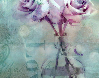Roses Photography, Pink Lavender Teal Roses, Roses Love Print, Dreamy Teal Aqua Roses, Shabby Chic Roses Decor, Impressionistic Roses Photos