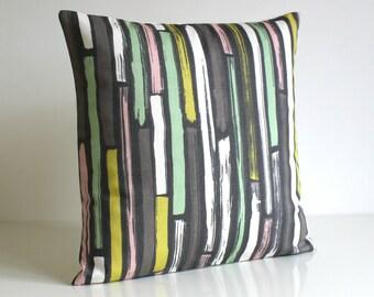 Stripe Pillow Cover, Decorative Pillow Cover, Cotton Pillows, Pillowcase, Cushion Cover, Scatter Cushion, Pillow Sham - Random Stripes Mint