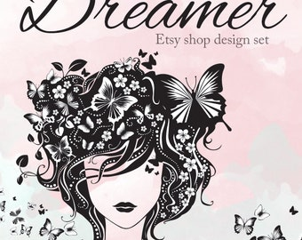 Etsy Banner Set - Shop Design DREAMER - Pink Watercolor Girl Butterfly Feminine Graphics Theme