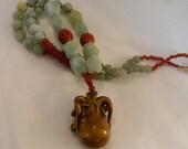 Netsuke octopus pendant w large jade & aquamarine beads necklace , beaded jewelry , Japanese Boxwood octopus jewelry , large octopus , rare