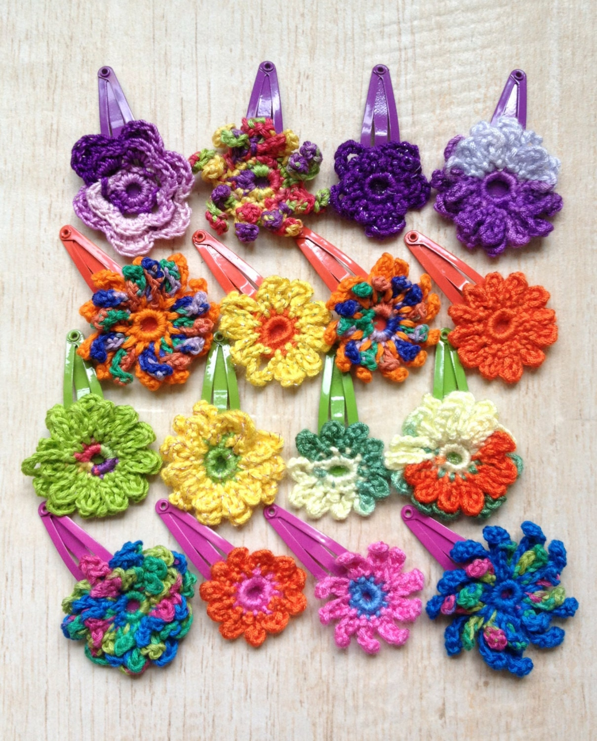 Crochet Flower Hair Clips Music Festival by BeachDaisyJewelry