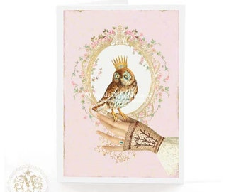 Owl card, crowned bird, bird card, pink card, birthday card, hello card, Victorian gloved hand, bird on hand, card for her, friendship card