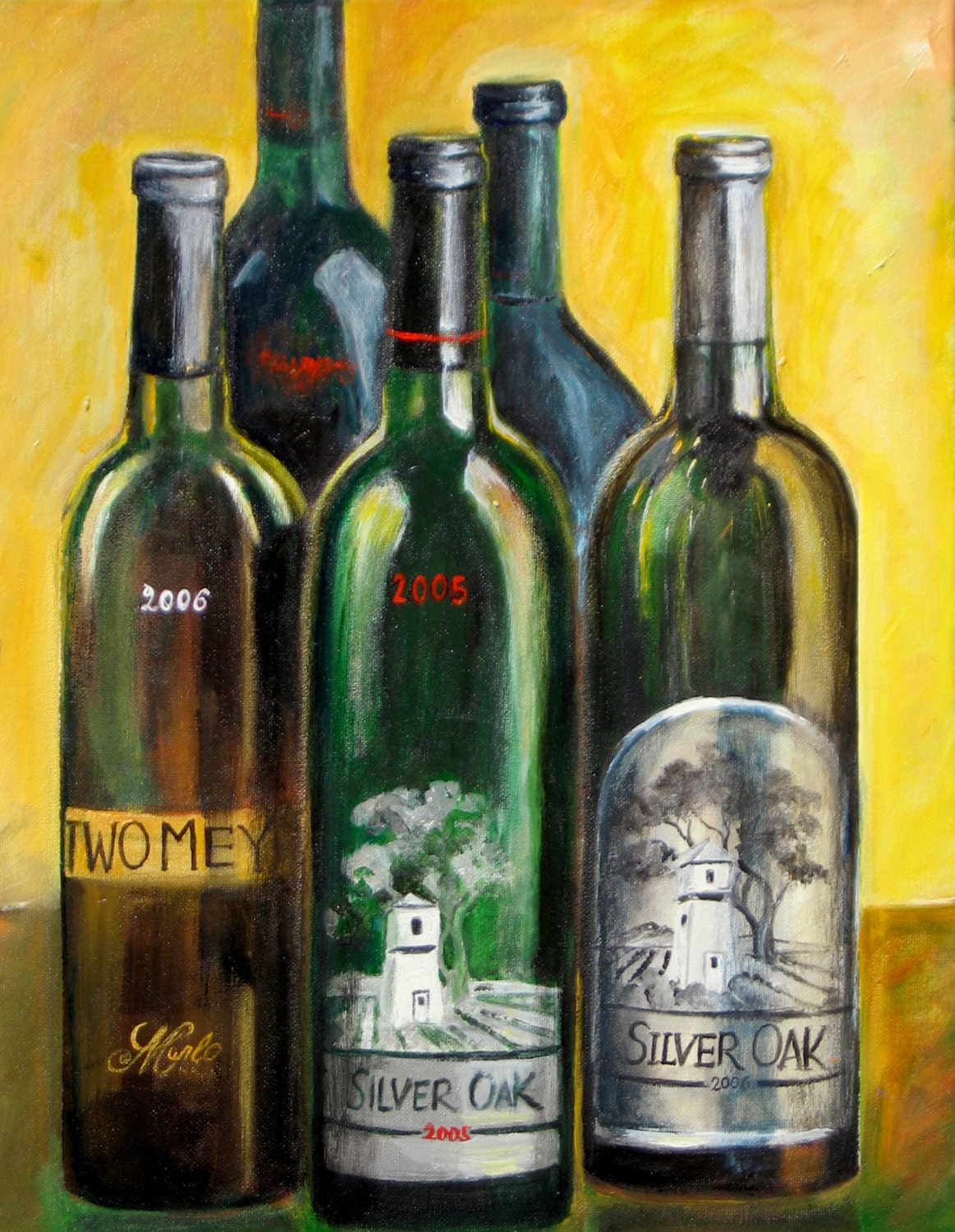 Wine bottle painting wine wall art print silver oak wine for Paint vino