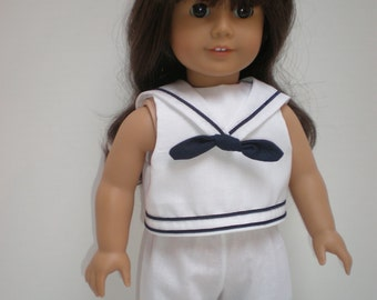 WHITE SHORTS with Navy trim Sailor Suit 18 inch doll clothes