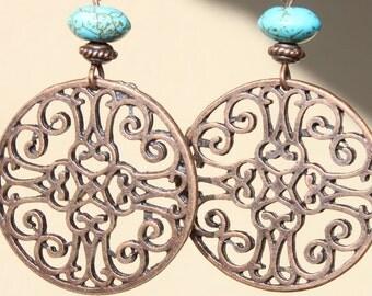 Copper Earrings Turquoise Earrings Bohemian Earrings Dangle Boho Earrings, Filigree Copper Earrings Jewelry