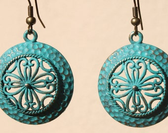 Turquoise Earrings Boho Earrings Dangle Jewelry Patina Bohemian Earrings Gift For Her Gift Ideas