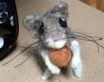 Grey Needle Felted Field Mouse