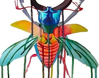 Rainbow Stag Beetle Print, Original Art, Liquid Acrylic