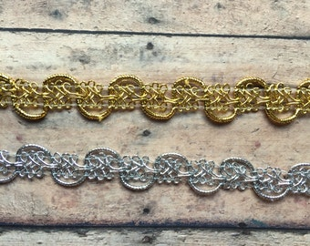 Baby Girl Headband, Gold or Silver Trim Headband