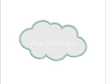 Cloud Applique Machine Embroidery Design Instant Download