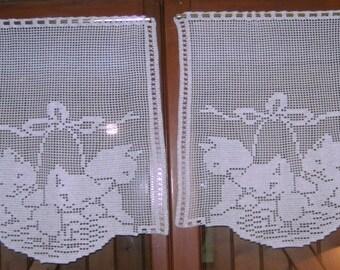Curtains Cats(Chats) hook net . Hand-made new .Origin France