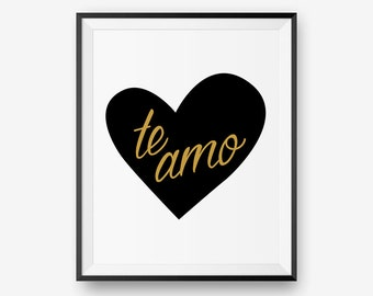 SALE Valentine printable - te amo - Digital Download - Printable Art