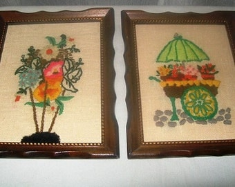 11-1001 HALF OFF  Vintage 1970's 2 Framed Wall Hangings / Folk Arts and Crafts / Plaques / Wall Art / Needlework / American Vintage