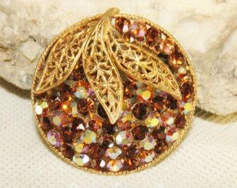 vintage AB topaz rhinestone with leafy design brooch