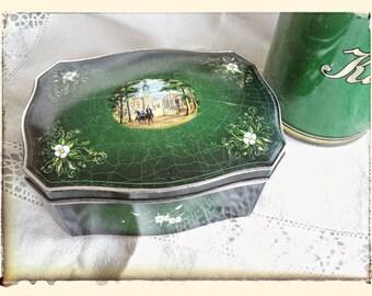 Vintage retro victorian green kitchen trinket tin box with legs